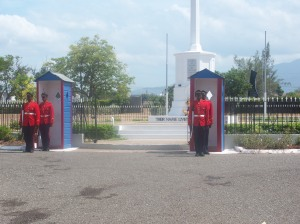 The changing of the guards happens every hour at National Heroes Park.