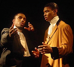 In this photo by http://media.wayne.edu, (Left to right) Thomas L. Harris as James Hewlett and James Abbott as Ira Aldridge.