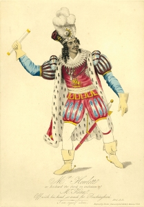 (Drawing by Harvard Theatre Collection, Houghton Library) James Hewlett (1778–1836) played Richard the III (pictured) and other starring roles at the African Grove Theater.